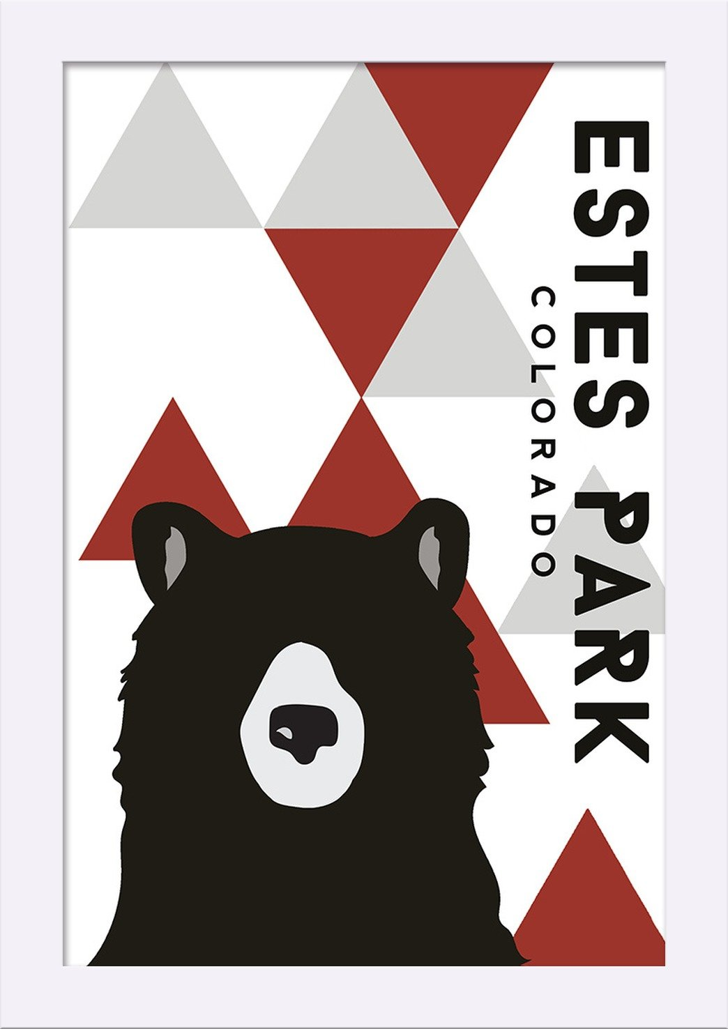 Bear and Triangles Colorado 12x18 Giclee Art Print, Gallery Framed, Silver Wood Red Vertical Estes Park