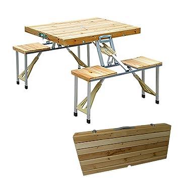 SSCJ Portátil Plegable para Acampar Mesa de Picnic y sillas ...