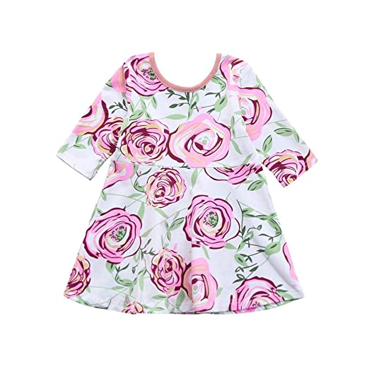 93e77832c Amazon.com  JPOQW Infant Toddler Baby Girls Floral Print A-Line ...
