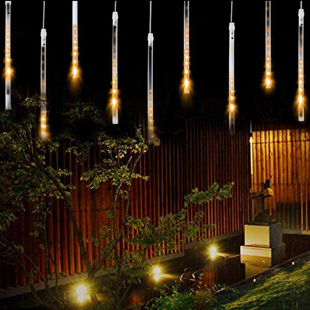 Solar Lights Outdoor 10Tubes 360LED Strip Lights Waterproof Meteor Shower Rain Cascading Drop String Lighting for Garden Christmas Tree Holiday Party Wedding Xmas Decoration (Warm White)