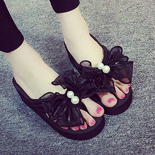 Wedges Flops Flip Slip Women Bottom High JULY Sandals No Thick Slippers T Butterfly Heels Black IqXnZ