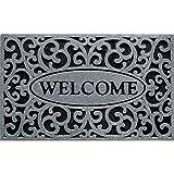 Apache Mills Inc 963-1703F 18x30-Inch Graphite Welcome Design Mat