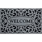CleanScrape Welcome Iron Graphite Door Mat, 18-Inch by 30-Inch