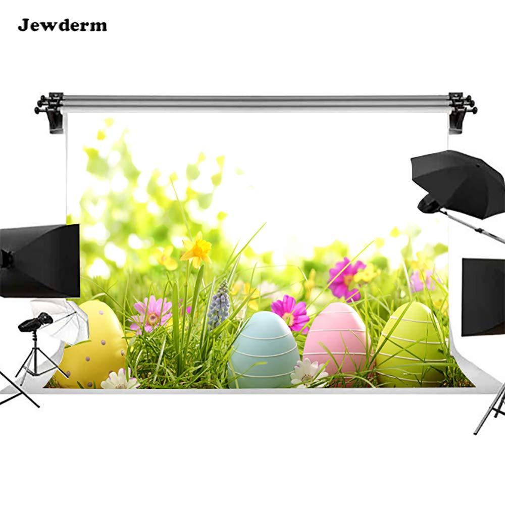 Jewderm 9x6フィート ハッピーイースター写真背景 カラフルな卵 花 芝生 写真背景 装飾 子供 新生児 ベビーシャワー 誕生日パーティーブース   B07PHQ76V5