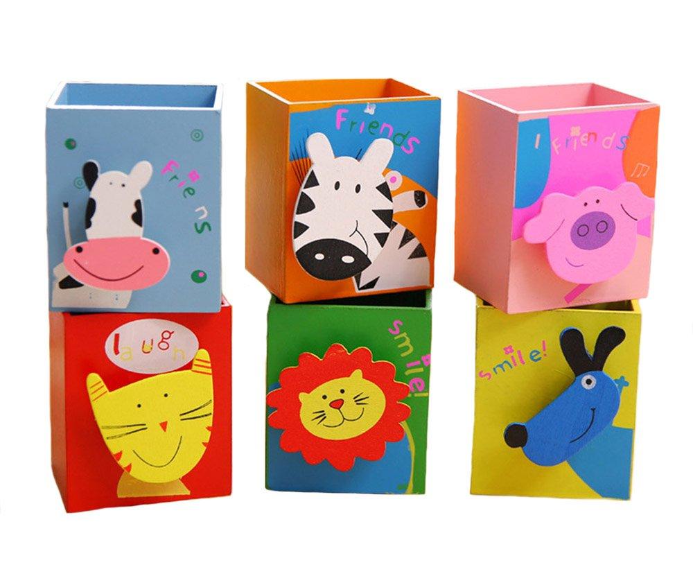 Wooden Cartoon Animals Print Pencil Holder With Memo Clip Random 6 Piece A Set