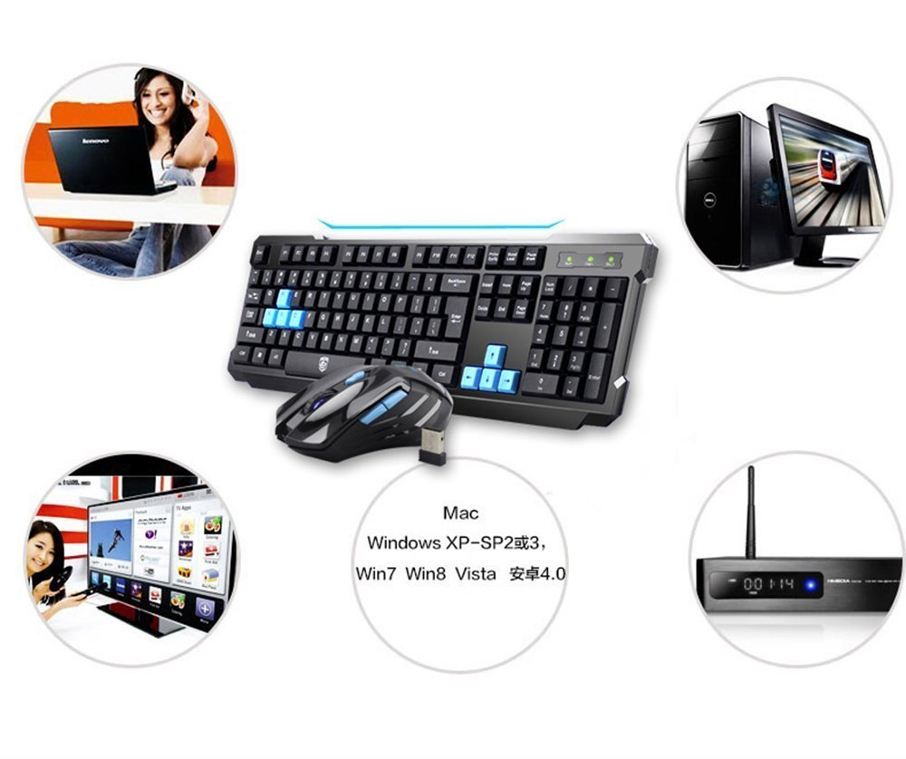 Keyboard Mouse Combos,Soke-Six Waterproof Multimedia 2.4GHz Wireless Gaming Keyboard with USB Cordless Ergonomic Mouse DPI Control For Desktop PC Laptop(Black) by Soke-Six (Image #9)