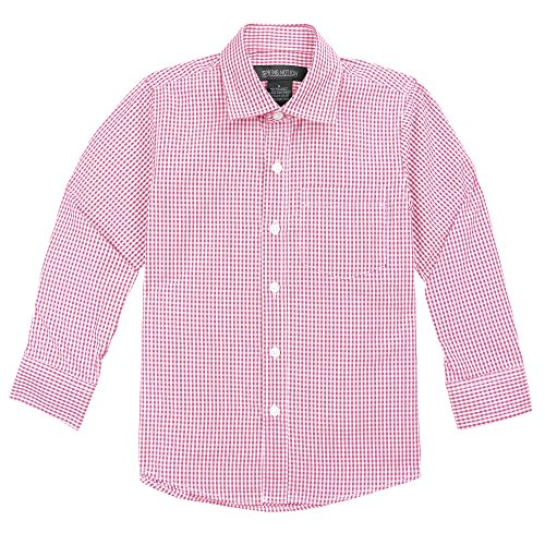 Baby Boy Gingham (Spring Notion Baby Boys' Long Sleeve Gingham Shirt 6M Lemonade Pink)