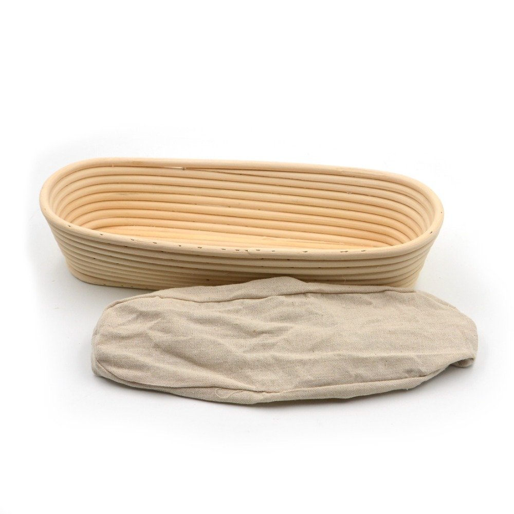 HOT- Baking & Pastry Tools - 1pc Long Strip 35X15x7cm Banneton Bortform Rattan Basket Bread Dough Proofing Handmade Multi Storage - by Tini - 1 PCs
