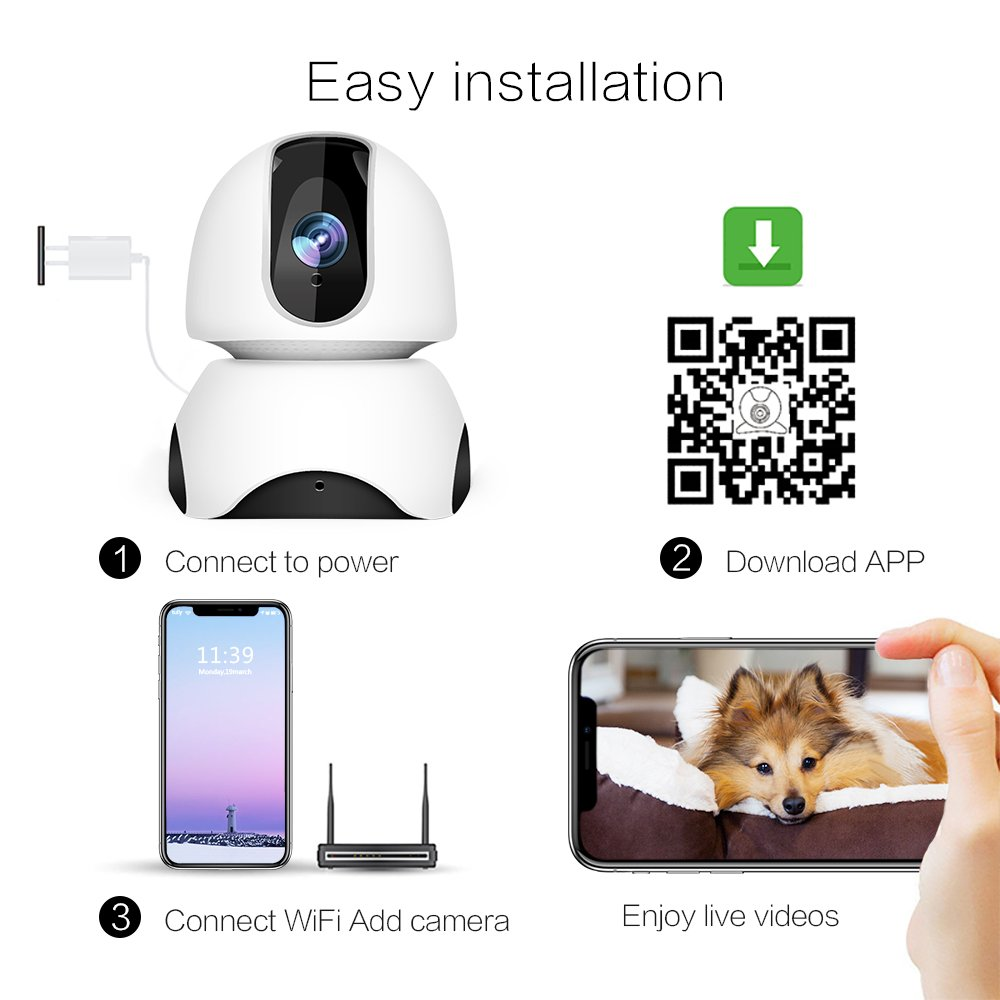 1080P Wireless IP Camera, 360 Home WiFi Security Camera Indoor Surveillance Camera System Panorama View for Pet/Baby Monitor Remote Viewer Nanny Cam with Pan/Tilt, Two-Way Audio & Night Vision by SHome (Image #8)