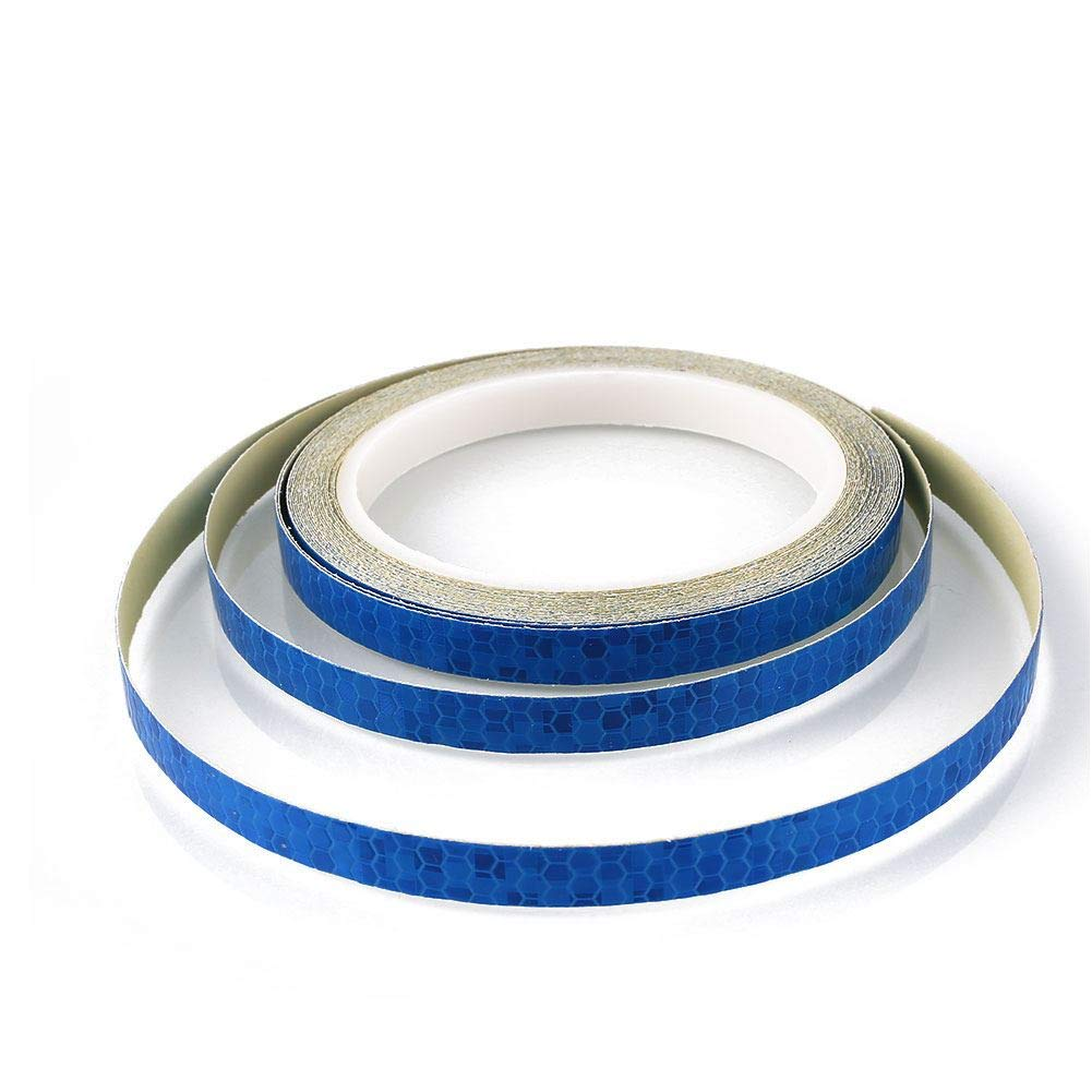 Laxzo Bicycle Rim Reflector Tape Waterproof Reflective Road Bike Wheel Tape 8M Adhesive Pack For Outdoor Cycling Security Protection Blue