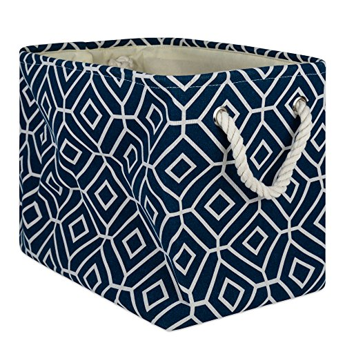 DII Collapsible Polyester Storage Basket Or Bin with Durable Cotton Handles, Home Organizer Solution for Office, Bedroom Closet, Toys, and Laundry, Large-18x12x15, Stained Glass Navy