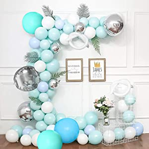 Balloon Garland Arch Kit - 203Pcs Grey, White, Metal Blue and Green Latex Balloons with Tying Tool, Balloon Strip Tape Glue Point Dots for Wedding Baby Shower Birthday Party Home Decor Event Backdrop