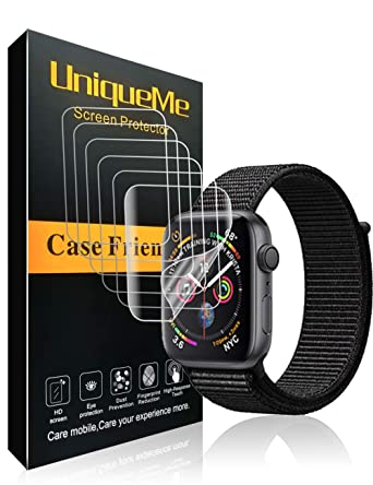 INGLE [6 Pack] for Apple Watch Series 4 / Series 5 Screen Protector (44mm), Liquid Skin [Anti-Bubble] Full Coverage with Lifetime Replacement Warranty