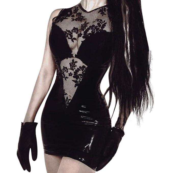 Amazon.com: Vestido de encaje para mujer con bordado sexy y ...