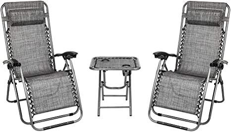 Brown Folding Patio Recliner Chairs for Backyard Poolside Garden Grey VINGLI 3 PCS Zero Gravity Chair Lounge Outdoor Chairs with Side Table