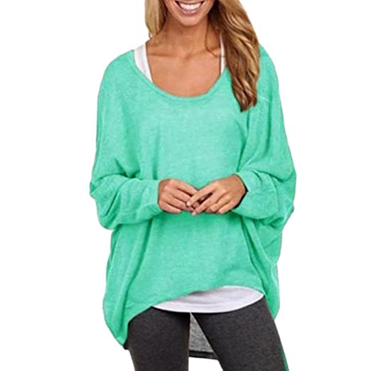 dde56366733 Todaies Women s Sexy Long Batwing Sleeve Loose Pullover Casual Top Blouse T- Shirt (S