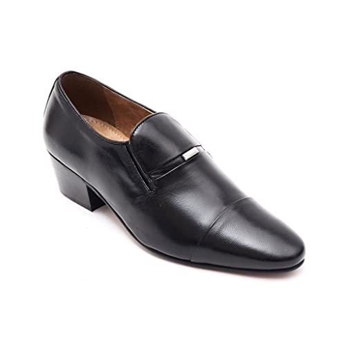 Lucini Mens Leather Slip On Shoes Smart Formal Wedding Cuban Heel Shoes Black