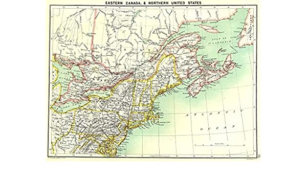 Amazon.com: CANADA East. & North East US - 1900 - old map ...