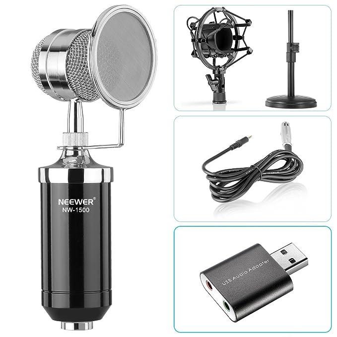 Amazon.com: Neewer - Micrófono de condensador de sobremesa ...