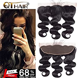 QTHAIR 10A Brazilian Body Wave Ear To Ear 13×4″ Full Lace Frontal Closure (18inch,Free Part) Body Wave Brazilian Human Hair Lace Frontal Bleached Knots With Baby Hair