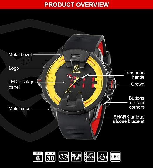 SHARK hombre Cuarzo relojes de pulseras silicona LED fecha día 24 ...