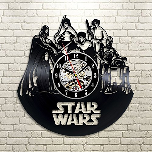 Star Wars Death Star Darth Vader Luke Skywalker Movie Characters Vinyl Record Design Wall Clock - Decorate your home with Modern Famous Star Wars Art - Famous Costume Designer For Movies