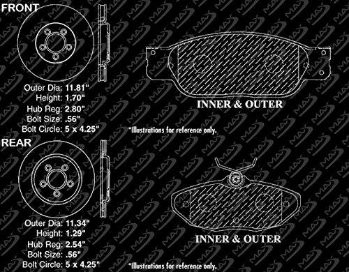2000-2006 Lincoln LS KT058443 Fits: 2002-2005 Ford Thunderbird OE Series Rotors + Ceramic Pads Max Brakes Front /& Rear Premium Brake Kit 2000-2002 Jaguar S Type