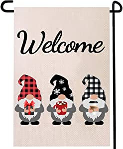 Gnome Coffee Welcome Garden Flag Winter Outdoor Sign Black Red White Buffalo Check Plaid Tea Cocoa Bar Rustic House Double Sided Decoration 12.5 X 18inch