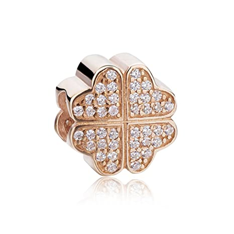 Amazon Com Beauty Charm Silver Flower Beads Diy Rose Gold Plated