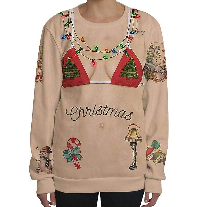 Sudaderas de Navidad Mujer Jersey Navideño Sueter Sweaters Sudadera  Estampadas Personalizadas Sweaters Jerseys Navideños Oversize Suéteres Feos  Basicas ... ee3b5598774aa