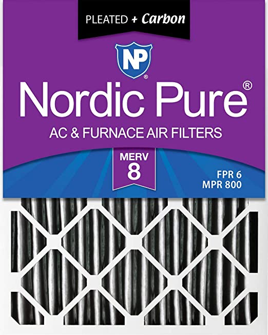 Nordic Pure 10x24x1 MERV 8 Pleated AC Furnace Air Filters 2 Pack