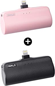 iWALK Mini Portable Charger for iPhone with Built in Cable, 3350mAh Compatible with iPhone 11 pro/Xs/XS Max/XR/X/8/7/6/Plus Airpods(2 Pack Black and Pink)