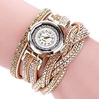 AutumnFall Women Bohemian Bracelet Woven Braided Handmade Wrap Bracelet Rhinestone Gemstone Wristwatch (Gold)