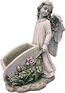 "Roman Inc. Joseph Studio Renaissance Collection Exclusive 15.5""H Angel Pushing A Garden Cart Statue Planter 68289"