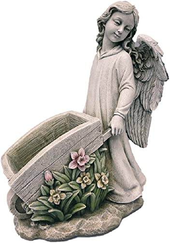 Joseph Studio Roman Inc Renaissance Collection Exclusive 15.5″ H Angel Pushing A Garden Cart Statue Planter 68289