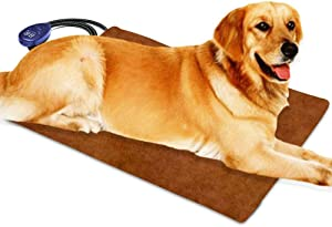 Berocia Pet Heating Pad for Cats Dogs Electric, Adjustable Temperature Waterproof Pet Bed Warmer with Chew Resistant Cord Soft Removable Cover Overheat Protection