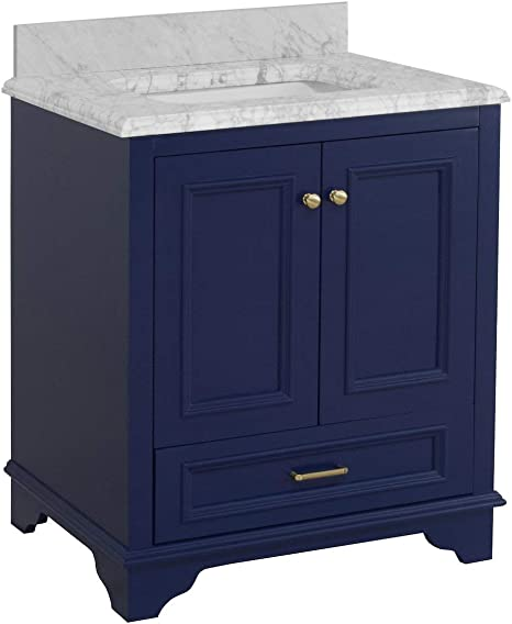 Amazon Com Nantucket 30 Inch Bathroom Vanity Carrara Royal Blue Includes Royal Blue Cabinet With Authentic Italian Carrara Marble Countertop And White Ceramic Sink Kitchen Dining