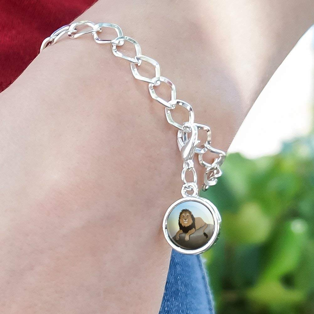 GRAPHICS /& MORE Lion on a Rock Silver Plated Bracelet with Antiqued Charm