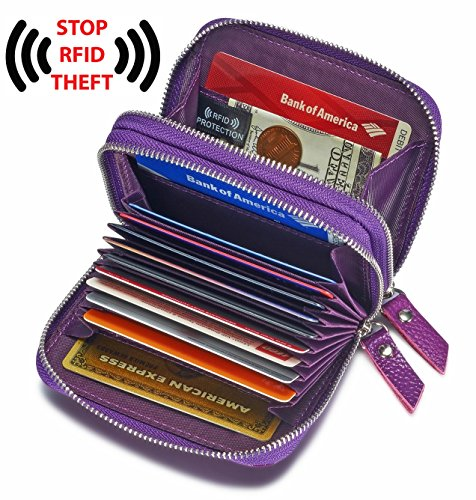Women's Genuine Leather RFID Secured Spacious Cute Zipper Card Wallet Small Purse (Purple)