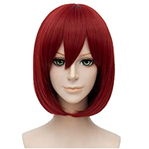 Flovex Short Straight Anime Bob Cosplay Wigs Natural Sexy Costume Party Daily Hair with Bangs (Wine Red)