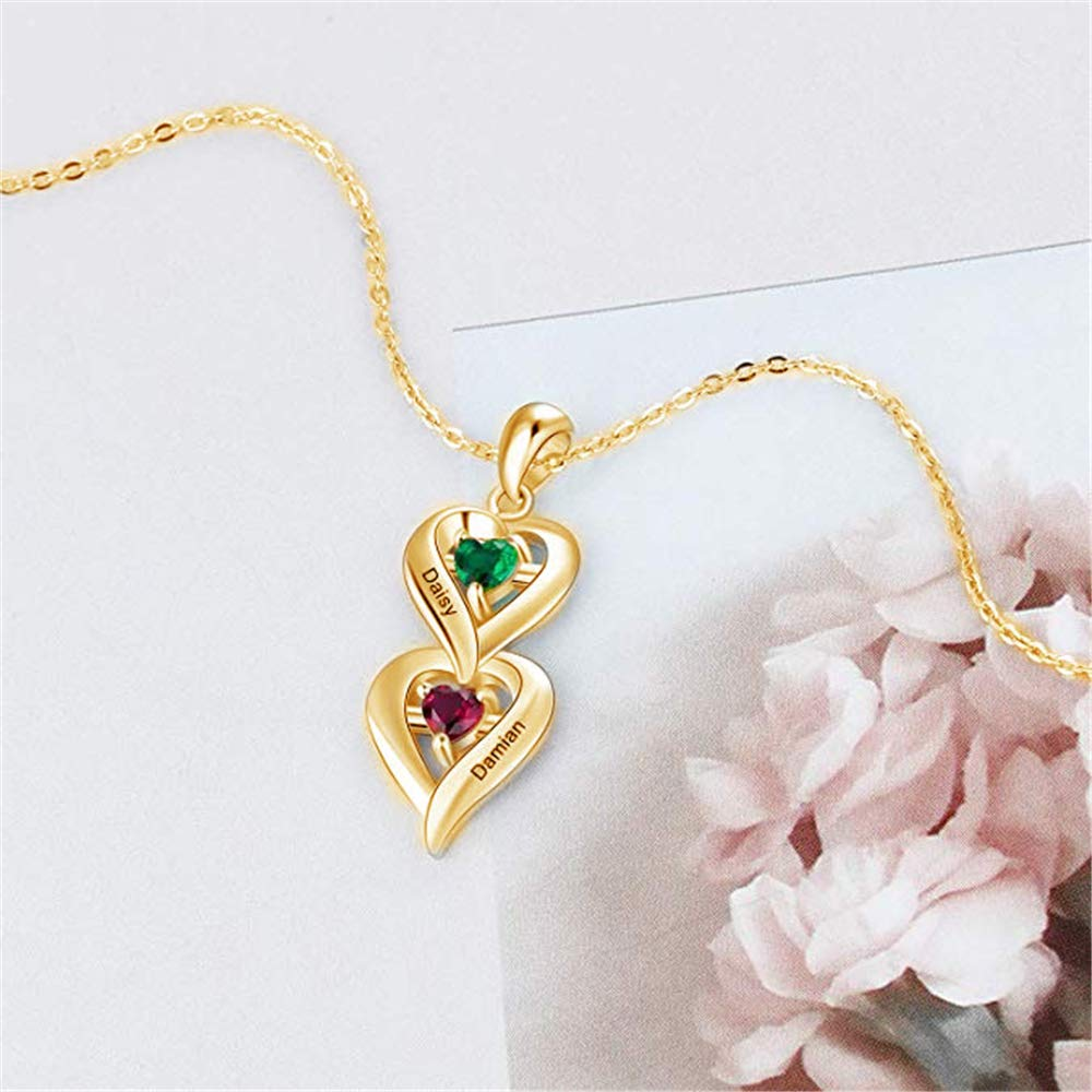 FACOCO Personalized Customized Heart Name and Birthstone Necklace