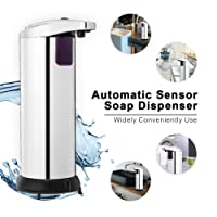 TAPCET Soap Dispenser Automatic Soap dispenser Touchless Infrared Motion Sensor Soap Dispenser, Stainless Steel Hands Free Soap Dispenser with Waterproof Base for Kitchen and Bathroom, Chrome