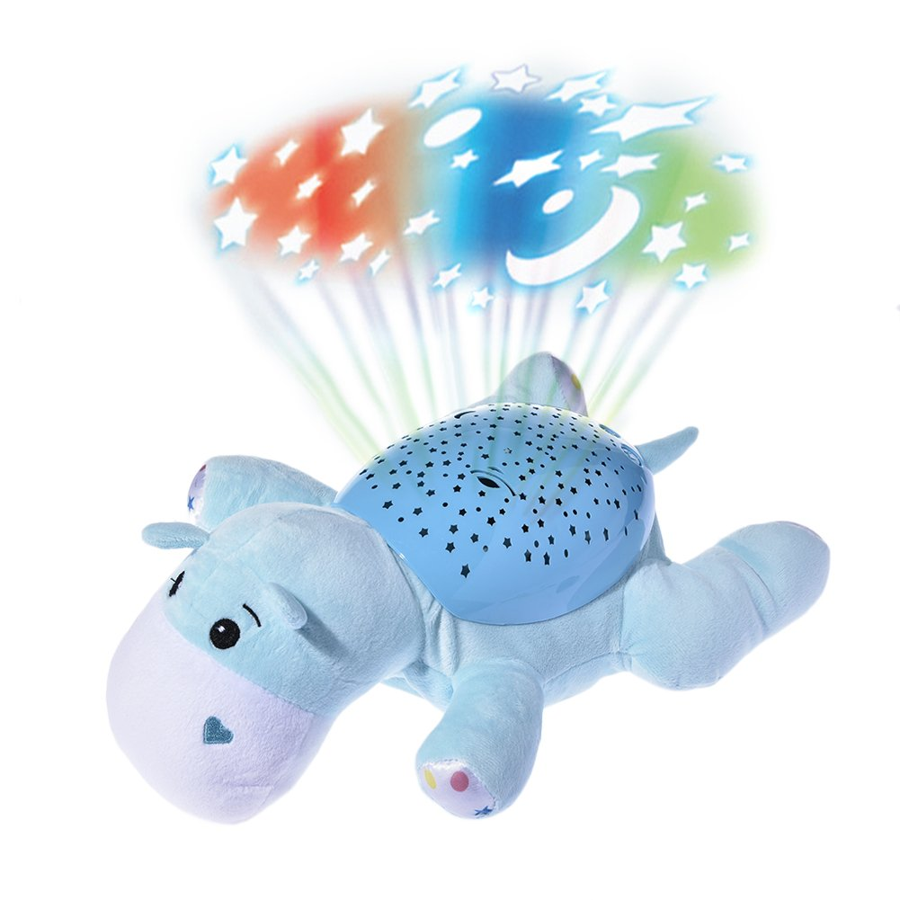 Musical Projector, Luerme Projection Night Light Plush Animal Musical Toy with 62 Soothing Songs and Beautiful Light (Hippo)
