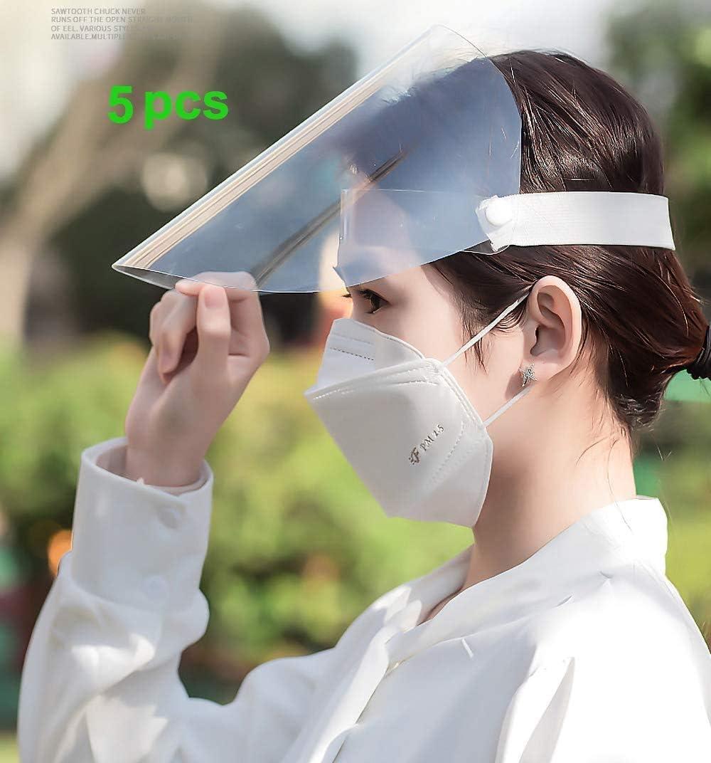 Visera de Escudo de protección Integral, Pantalla Facial Transparente Ajustable de plástico antivaho para prevenir la Saliva, Las Gotas y el Agua.