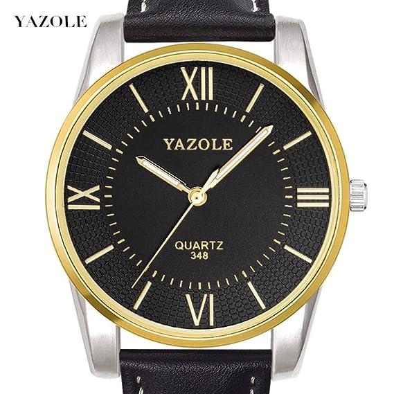HWCOO Hermoso Relojes de Pulsera 348 Reloj para Hombre YAZOLE Reloj para Hombre Piel de Cuarzo (Color : 1): Amazon.es: Relojes