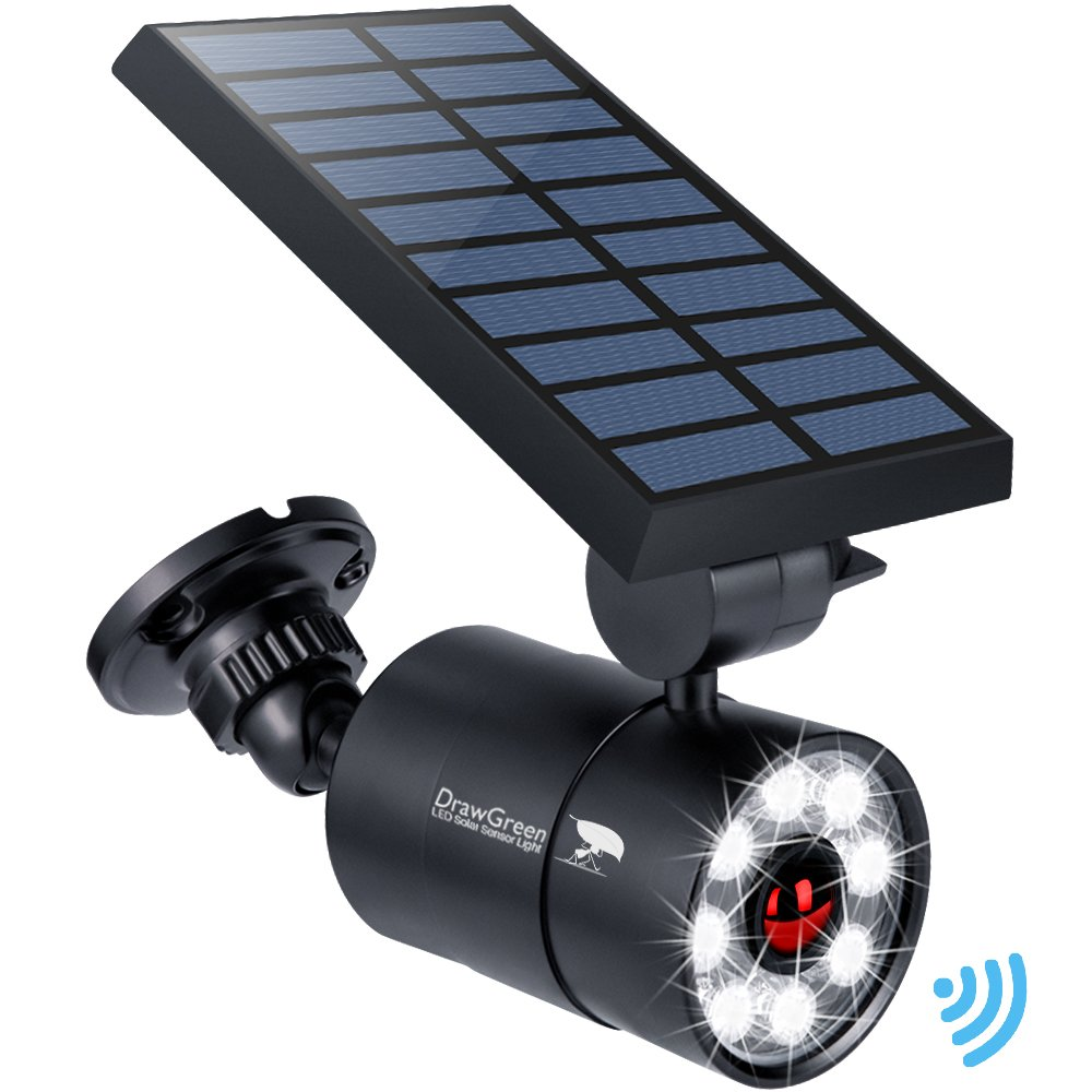 Solar Motion Sensor Light Outdoor Aluminum,1400-Lumens 9-Watt(110W Equivalent) LED Bright Spotlight, 2-Modes Wireless Solar Flood Security Lights for Garden Porch Patio,Solar Powered Lights(Black)
