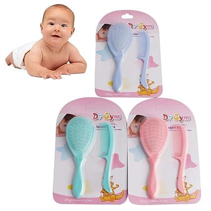 Manyo 2 pcs suave bebé cepillo para cabello seguridad peine para recién nacidos conjunto Pack – Neceser livraison aleatorio