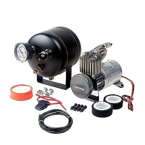 RUNGAO Tanque de 150 PSI con 12 V Inflador Compresor de aire calibre manguera sistema para