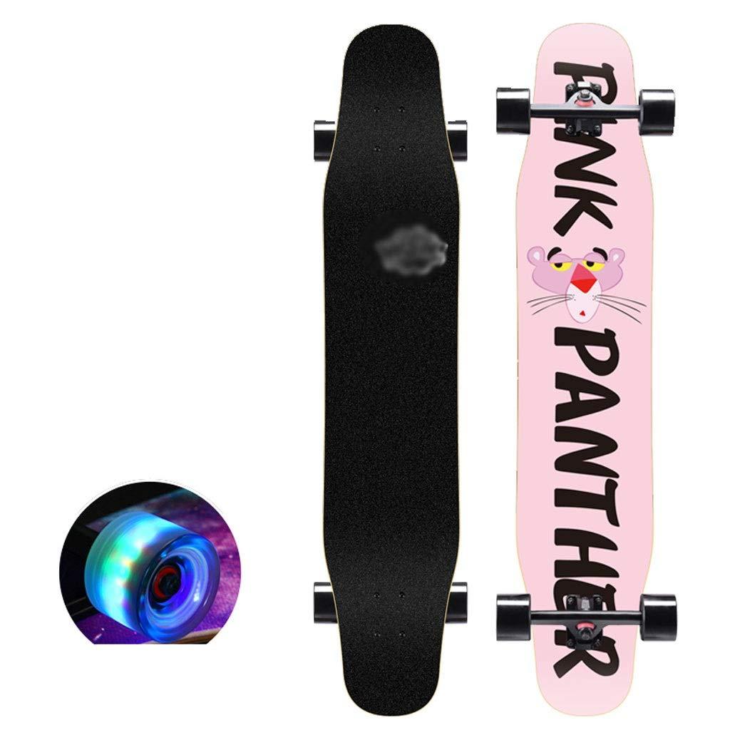 DUWEN スケートボードデッキ大人キッズスケートボードメープルロングボードティーンブラシストリートダンスボード初心者およびプロに適した(フラッシュホイール付き) (色 : E) E
