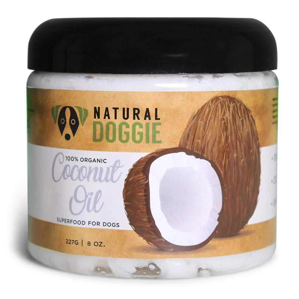 Natural Doggie Pure Organic Virgin Coconut Oil for Dogs for Topical Healing & Food Topper Supplement 8oz by Natural Doggie